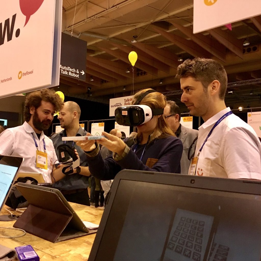 A user testing an AR demo through a Cardboard device.